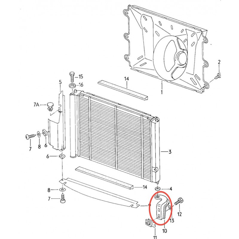 Cooling radiator Support VW Bus T3 - Type17 - Asia