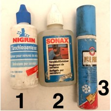 De-icing spray for locks